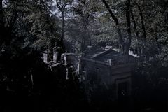 Night on the Pere Lachaise cemetery in Paris royalty free stock images