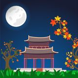 Full moon night view background with Sojiji Temple Nishiarai Da. Ishi, persimmon tree and autumn branch for Chuseok festival celebration royalty free illustration