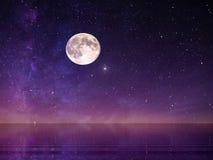 Free Full Moon On Night Starry Sky At Sea Lilac Pink Sunset Sky Stars Summer Sea Dark Blue Water Reflection Moonlight Galaxy Background Stock Photos - 178902753