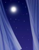 Full moon in open window Royalty Free Stock Photos