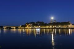 Full moon over Avignon in France. Full moon over Old Town in Avignon in France Stock Photos