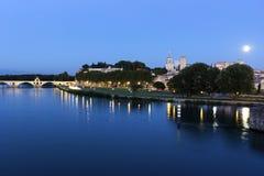 Full moon over Avignon in France. Full moon over Old Town in Avignon in France Royalty Free Stock Photography
