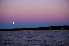 Full moon over the Baltic Sea Royalty Free Stock Photography