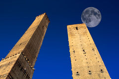 Full Moon over Bologna Towers, Italy. stock photography