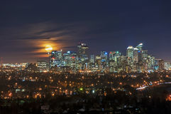 Full Moon Over The Calgary Downtown Royalty Free Stock Photography