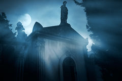 Full moon over cemetery Royalty Free Stock Image