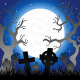 Full moon over the cemetery Royalty Free Stock Photo