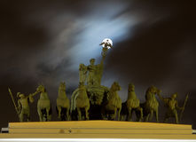 Full moon over the chariot of Glory at the Palace square in St. Petersburg Royalty Free Stock Photography