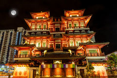 Full Moon Over Chinese Temple in Singapore Chinatown Stock Photo