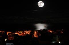Full moon over the city of Sao Filipe Stock Photos