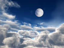 Full Moon over Clouds. Moon and bright star over fluffy clouds background stock illustration