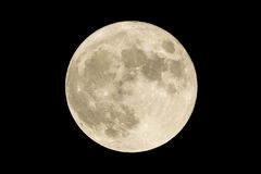 Full moon. Over the dark black sky at night. High resolution image shot in 2015 royalty free stock photography