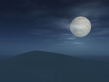 Full moon over desert Royalty Free Stock Photo