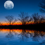 Full moon over a evening lake Stock Image