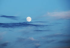 Full moon over evening sky Royalty Free Stock Photo