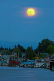 Full Moon Over Floating Homes on Columbia River in Portland Oregon Royalty Free Stock Photography