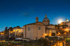 Full moon over the Forum Romanum Royalty Free Stock Photos