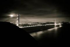 Full moon over the Golden Gate. In black and white Stock Image