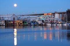 Full Moon over Granville Island, Vancouver Royalty Free Stock Photo