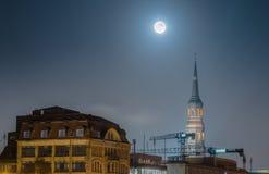 Full Moon over Hamburg Stock Photography