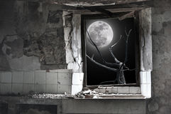 Full moon over the house in ruins Stock Image