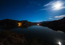 Full Moon over lake Stock Image