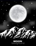 Full Moon over mountains. Night landscape. Royalty Free Stock Photos