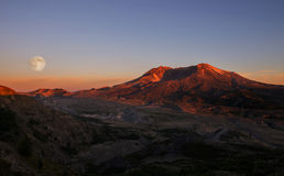 Full Moon over Mt St Helens Royalty Free Stock Images