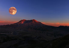 Full Moon over Mt St Helens Royalty Free Stock Photos