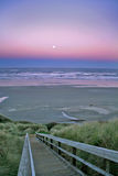 Full moon over Newport Beach. Sunrise with a full moon over Newport Beach Oregon with a tall sea grass in the foreground Stock Photos