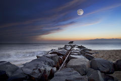Full Moon over the Ocean Stock Photography