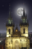 Full moon over the old Town Square in Prague Royalty Free Stock Images