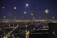 Full moon over paris with firework Stock Image