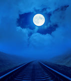 Full moon over railroad Royalty Free Stock Photo