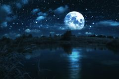 Free Full Moon Over River Stock Image - 124761441