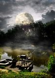 Full moon over river Stock Image