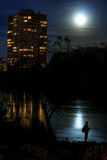 Full moon over the river Stock Photos