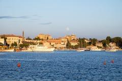 Full moon over Rovinj, Croatia. Full moon over the port of Rovinj, Croatia Royalty Free Stock Image