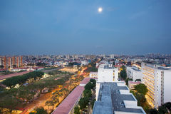 Full Moon Over Singapore Housing Estate Royalty Free Stock Photography