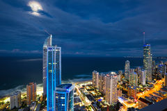 Full moon over Surfers Paradise Stock Image