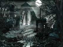 Free Full Moon Over The Ruins Of The Temple Stock Photo - 45747200