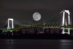 Full Moon over Tokyo, Japan Royalty Free Stock Photo