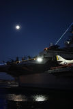 Full moon over the USS Midway Museum Stock Images
