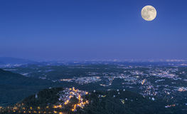 Full moon over the Varese city Royalty Free Stock Photo