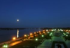 Full moon over the Volga river. Summer night on the arrow of Yaroslavl. Moonlight through the wrought-iron fenceFull moon over th royalty free stock images