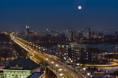 Full moon over Warsaw city Royalty Free Stock Photo