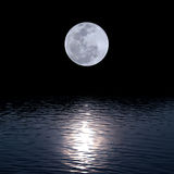 Full moon over water. With abstract shining water Stock Photo