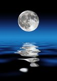 Full Moon Over Water. At Night Royalty Free Stock Photography