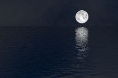 Full moon over water silent night scene. Bright full moon rise out of the reflective dark ocean at peaceful night. Dreamy peaceful landscape background Stock Photo