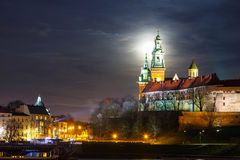 Full moon over Wawel Castle in Krakow, Poland Royalty Free Stock Photos